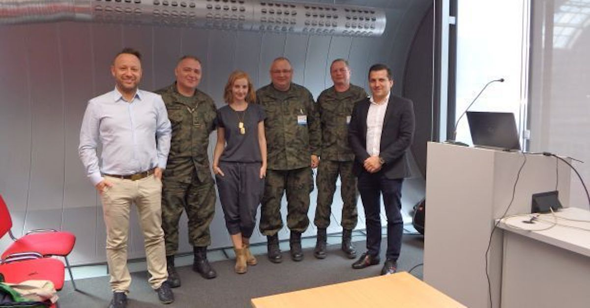 Saule Technologies founders at the 23rd International Defence Industry Exhibition MSPO in Kielce