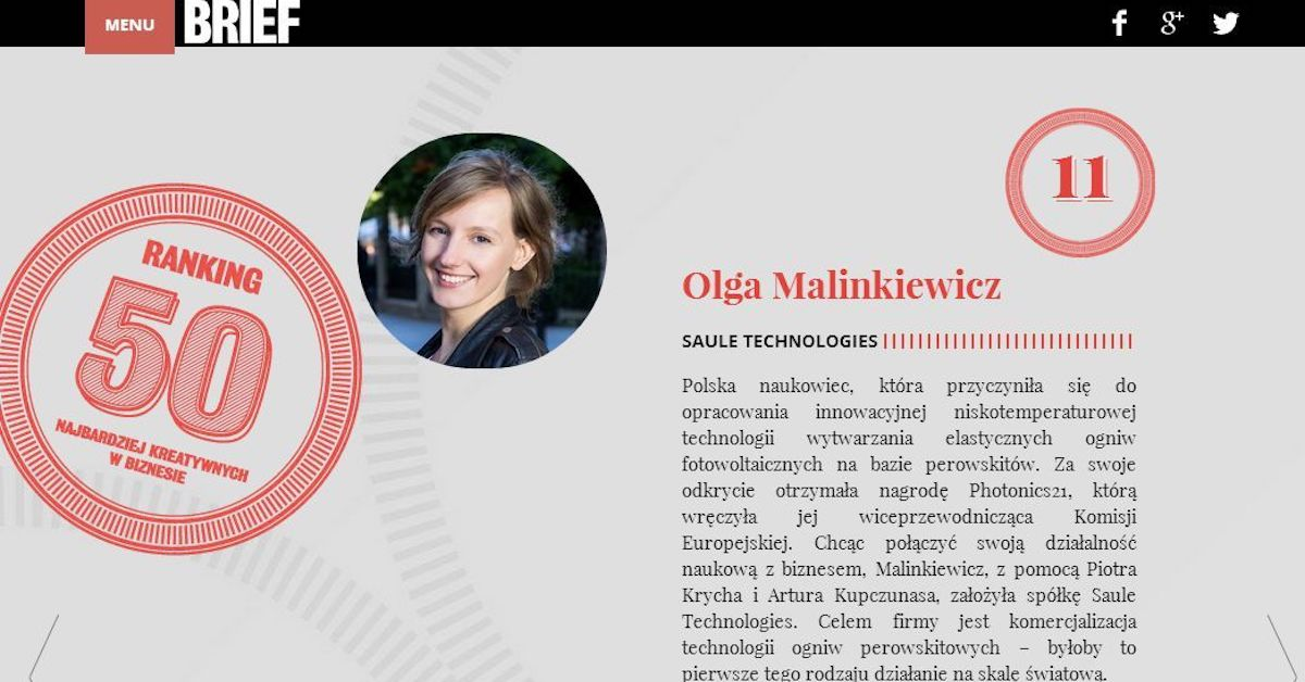 Olga Malinkiewicz in Brief's Most Creative Business People Ranking
