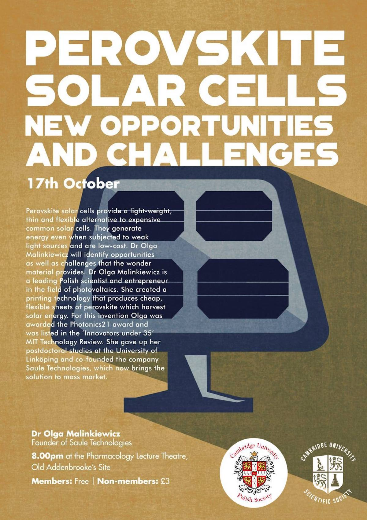 Perovskite solar cells - a lecture by Olga Malinkiewicz at the Cambridge Univeristy