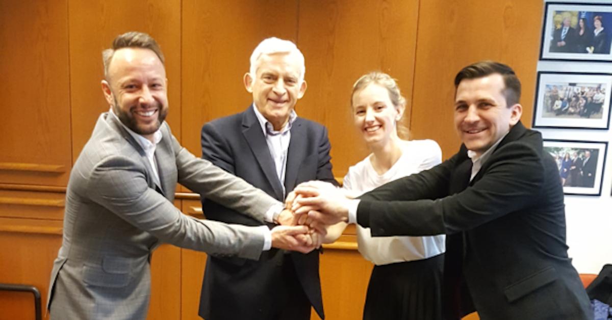 Saule Technologies Founders meet with prof Jerzy Buzek