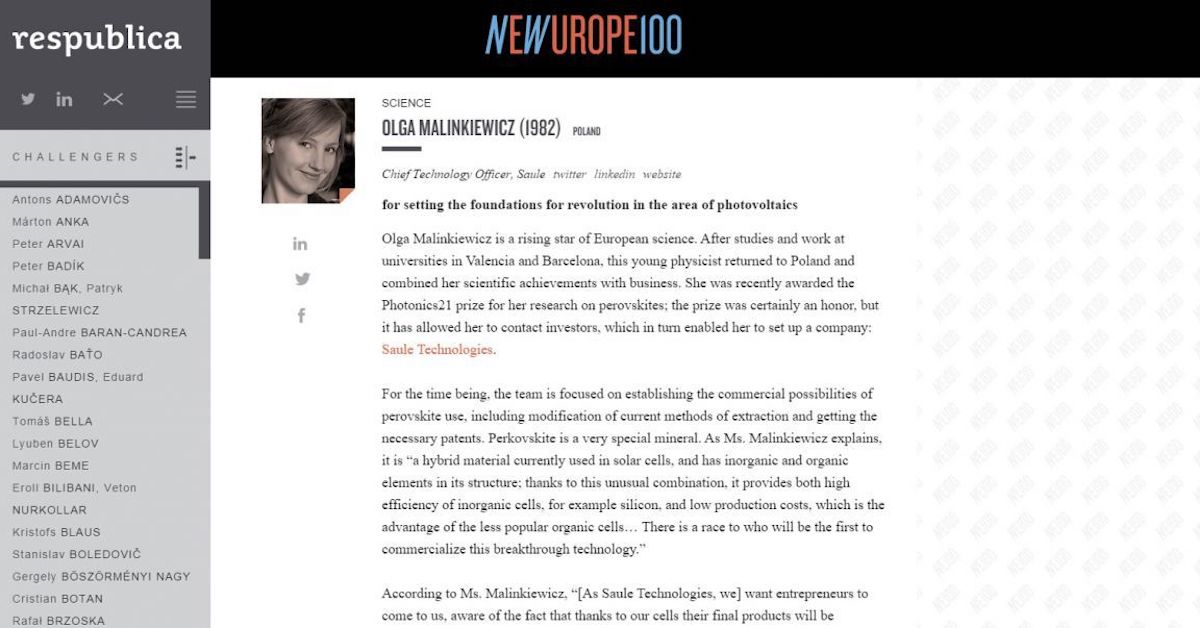 Olga Malinkiewicz featured in the New Europe 100 List