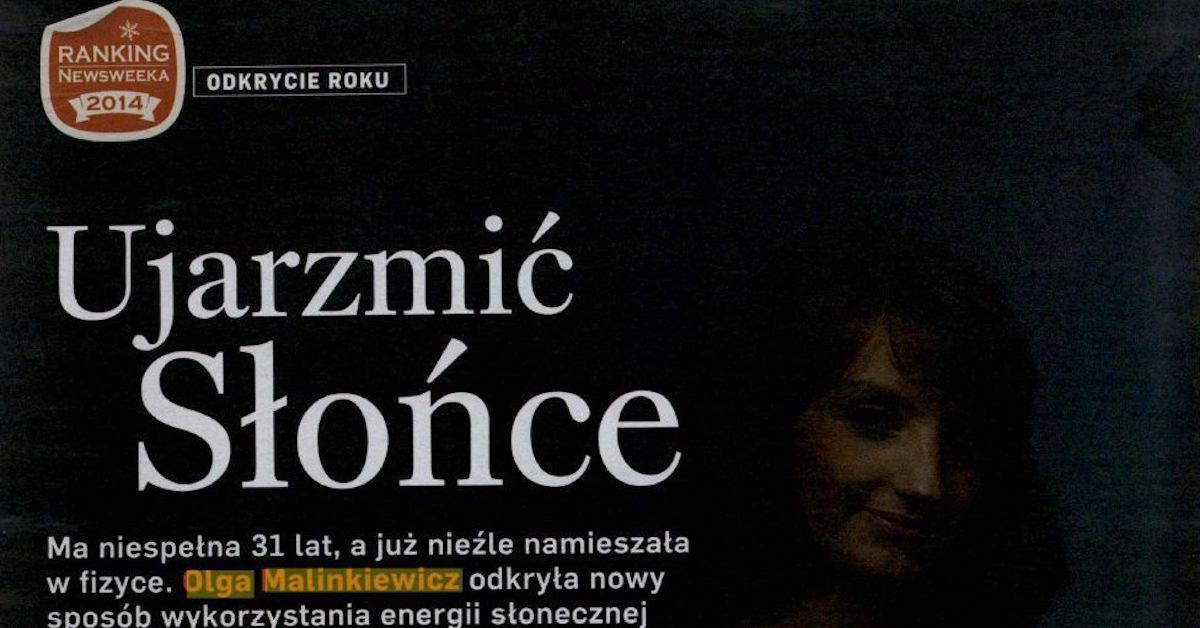Olga Malinkiewicz in Top Scientific Discoveries of the Year by Newsweek