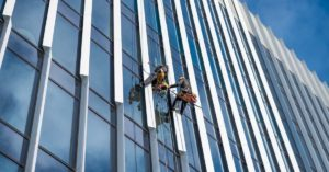 A pilot installation of perovskite solar panel on the Spark office's facade in Warsaw