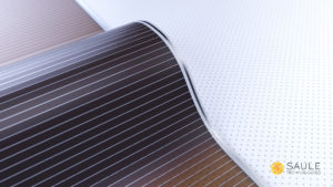 Close view of a flexible & ultrathin solar module (with logo)