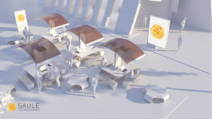 Smart furniture application of perovskite solar cells (visualization with logo)
