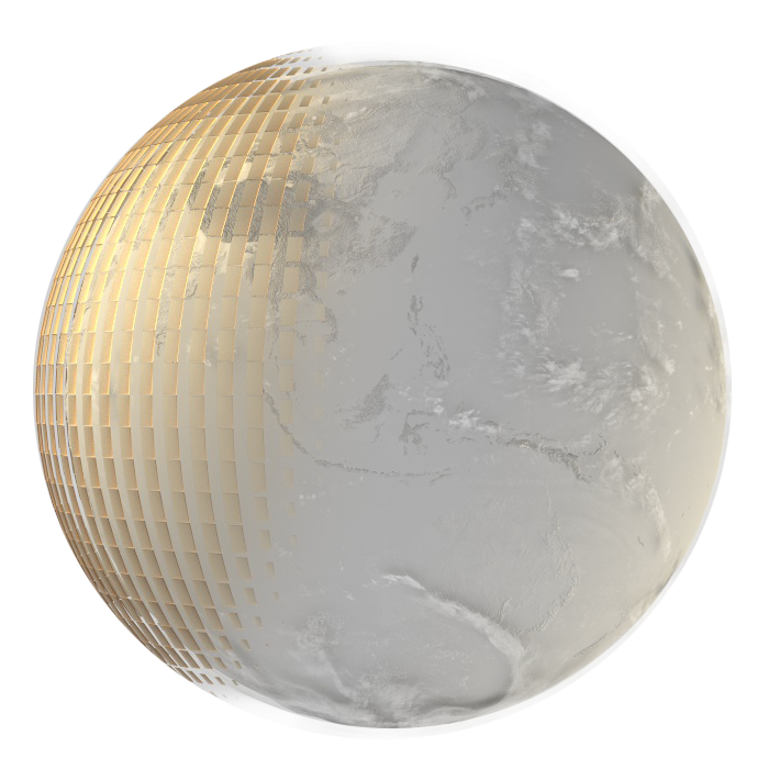 Earth with a solar cover
