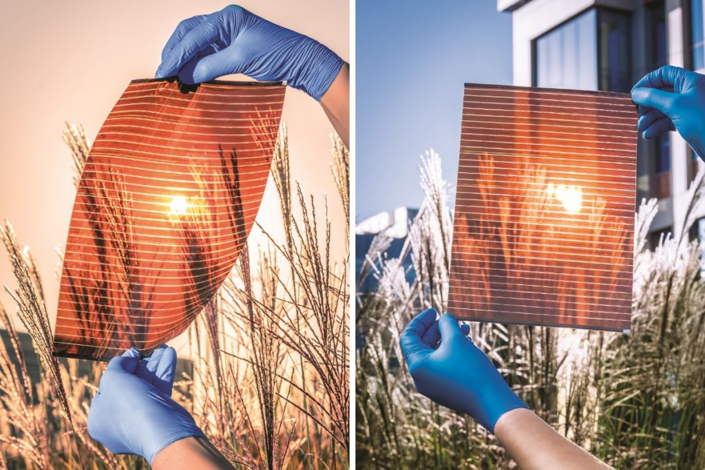 Two pictures of A-4 flexible, semi-transparent, perovskite solar modules