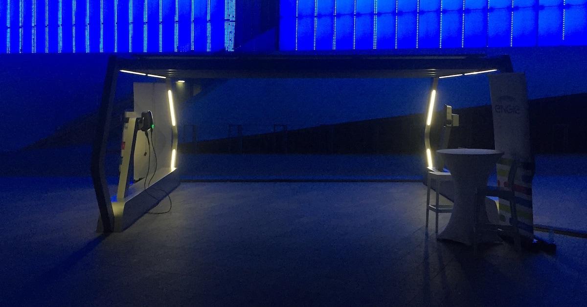 Solar Carport by Natoni & Saule illuminated at night