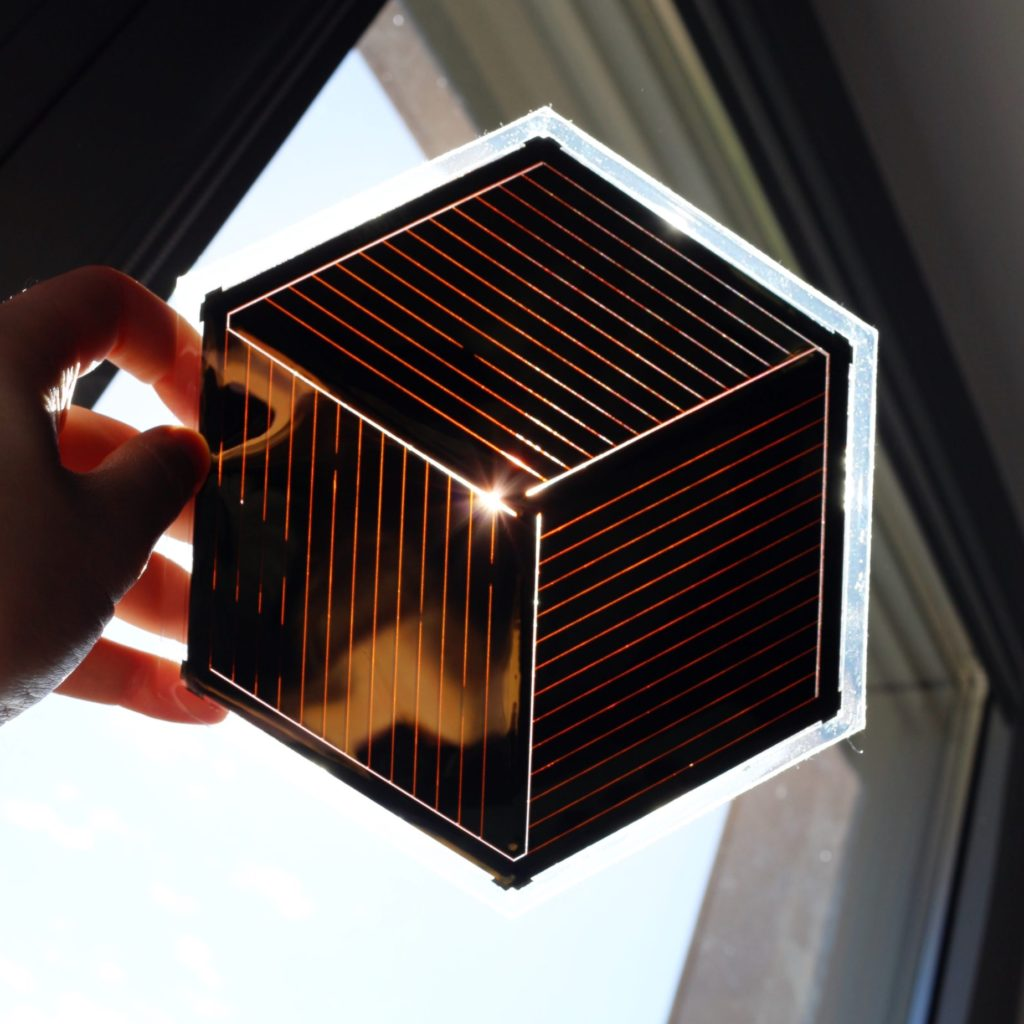 Hexagon module held towards the sun. The light shows how the cells are arranged.