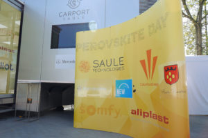 Banner of the Perovskite Day - logos of Saule, Columbus, Mercedes, Somfy, Aliplast and Miasto Piastów with New City