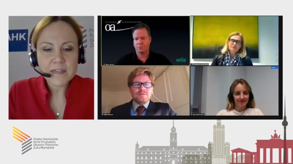 A screenshot from an online debate, showing all the participants, including Olga Malinkiewicz.